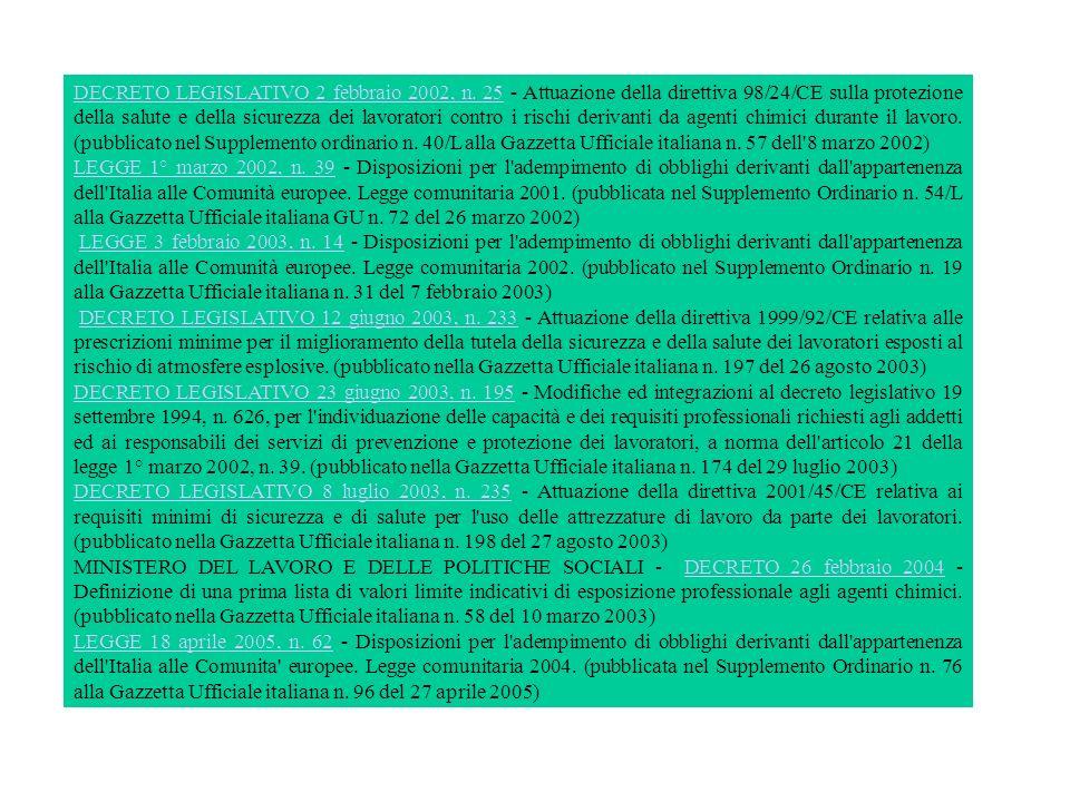 DECRETO LEGISLATIVO 2 febbraio 2002, n. 25DECRETO LEGISLATIVO 2 febbraio 2002, n. 25 - Attuazione della direttiva 98/24/CE sulla protezione della salu