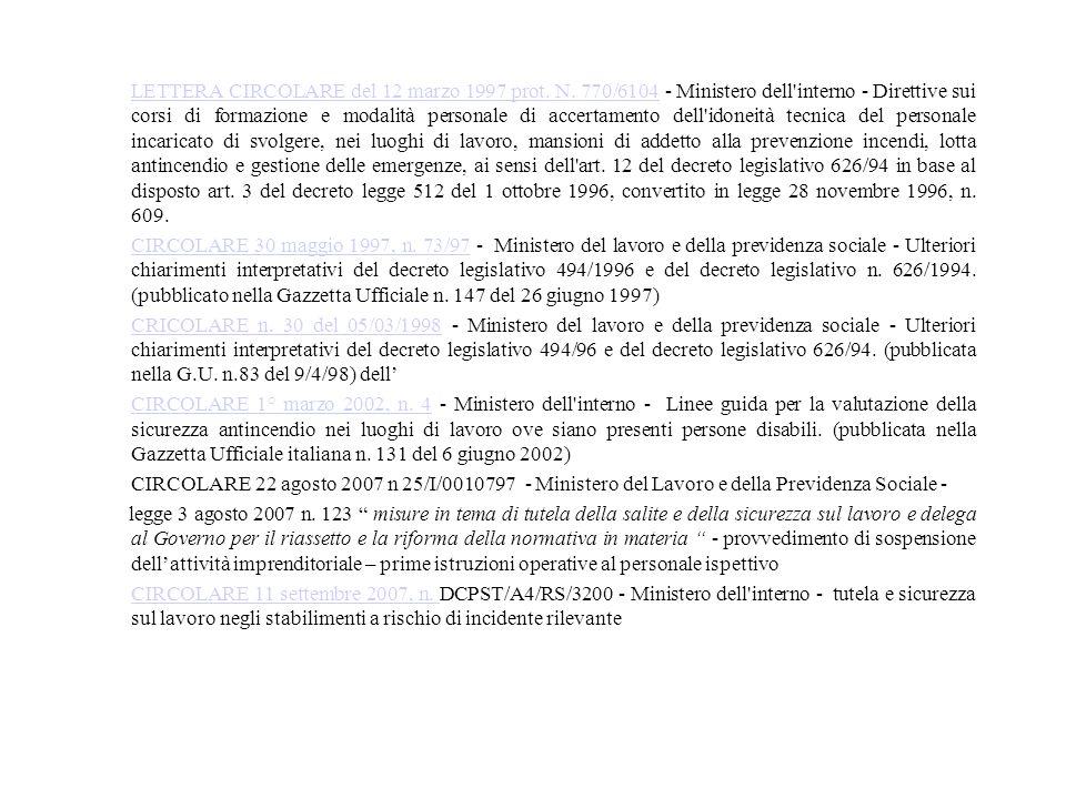 LETTERA CIRCOLARE del 12 marzo 1997 prot. N. 770/6104LETTERA CIRCOLARE del 12 marzo 1997 prot. N. 770/6104 - Ministero dell'interno - Direttive sui co