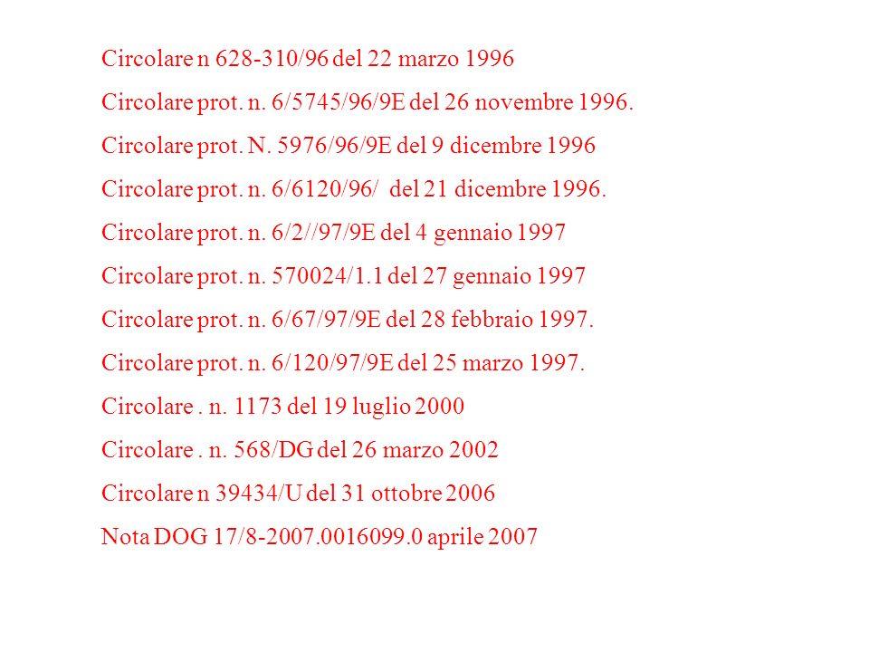 Circolare n 628-310/96 del 22 marzo 1996 Circolare prot. n. 6/5745/96/9E del 26 novembre 1996. Circolare prot. N. 5976/96/9E del 9 dicembre 1996 Circo