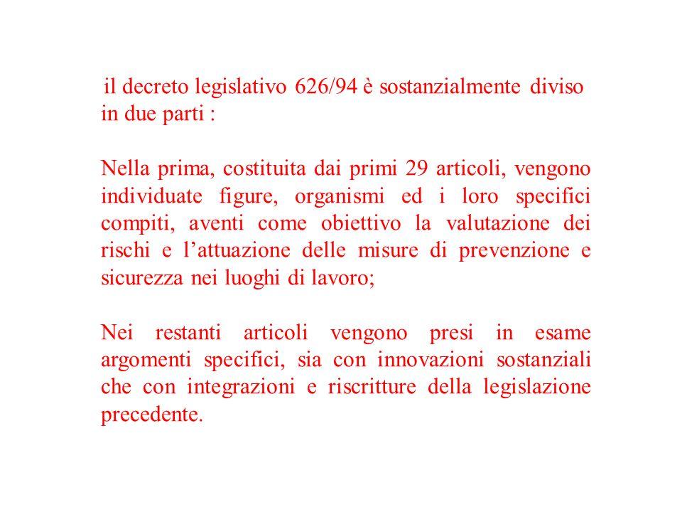 il decreto legislativo 626/94 è sostanzialmente diviso in due parti : Nella prima, costituita dai primi 29 articoli, vengono individuate figure, organ
