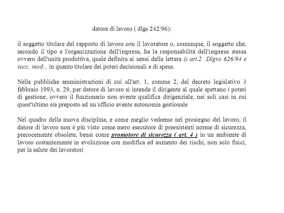 datore di lavoro ( dlgs 242/96): il soggetto titolare del rapporto di lavoro con il lavoratore o, comunque, il soggetto che, secondo il tipo e l'organ
