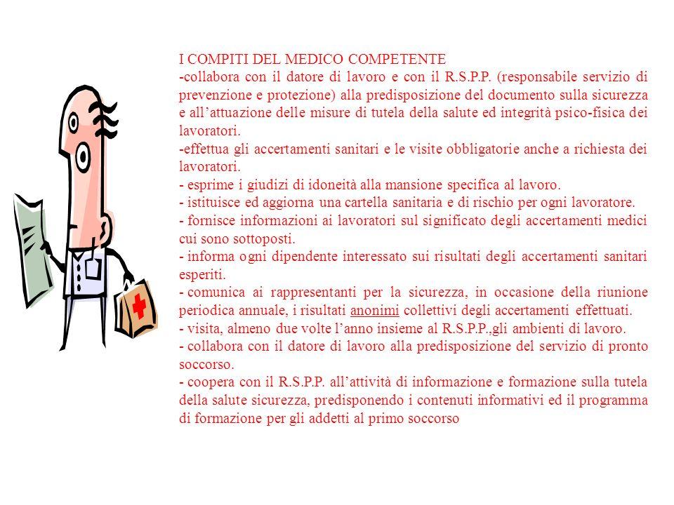 I COMPITI DEL MEDICO COMPETENTE -collabora con il datore di lavoro e con il R.S.P.P. (responsabile servizio di prevenzione e protezione) alla predispo