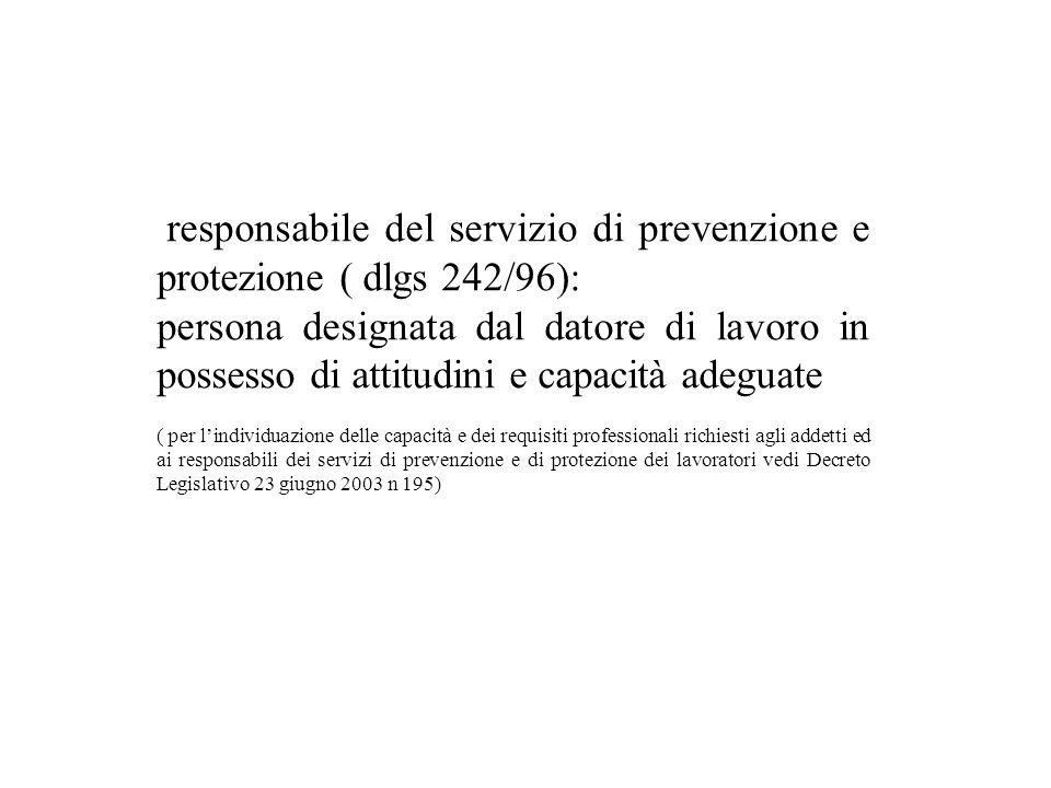 responsabile del servizio di prevenzione e protezione ( dlgs 242/96): persona designata dal datore di lavoro in possesso di attitudini e capacità adeg