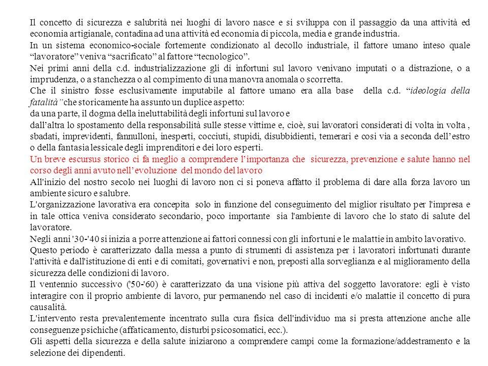 COS È IL DECRETO LEGISLATIVO 626 DEL 19 SETTEMBRE 1994 Il Decreto legislativo n.626 del 19 settembre 1994 (pubblicato sul Supplemento ordinario della Gazzetta Ufficiale il 12 novembre 1994) recepisce in Italia otto direttive della CEE finalizzate a promuovere la salute e la sicurezza dei lavoratori nei luoghi di lavoro La problematica della sicurezza sul posto di lavoro già contemplata dallart.