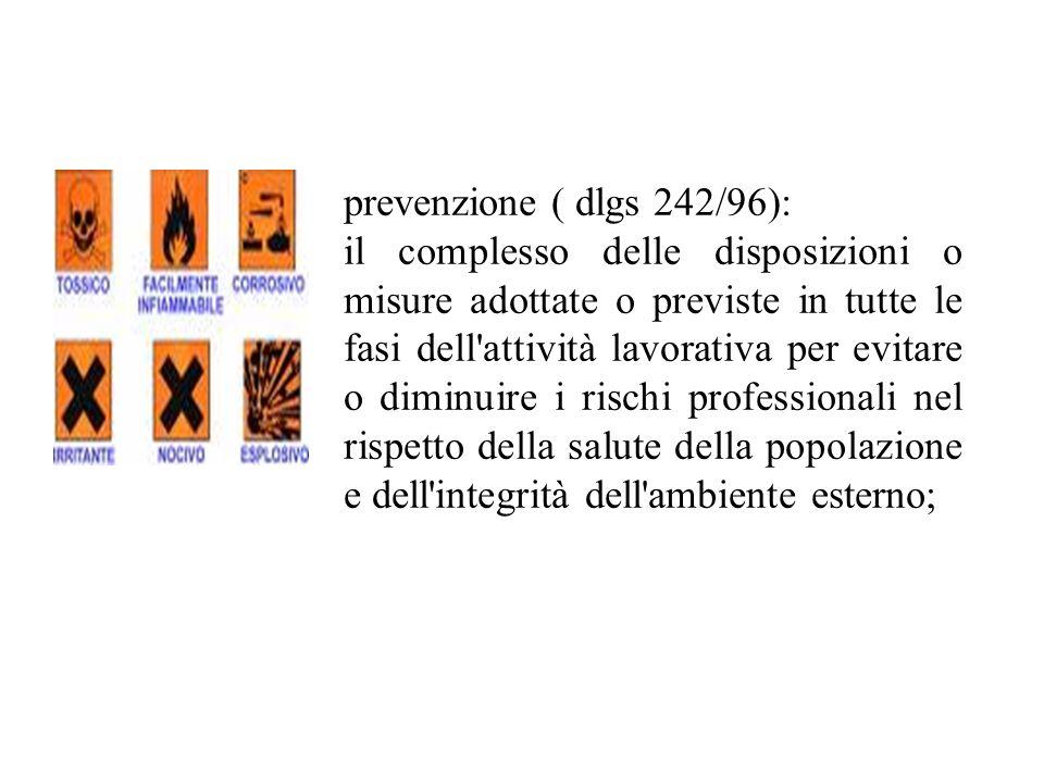 prevenzione ( dlgs 242/96): il complesso delle disposizioni o misure adottate o previste in tutte le fasi dell'attività lavorativa per evitare o dimin