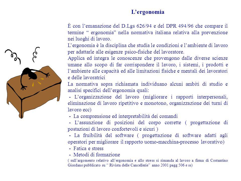 Lergonomia È con lemanazione del D.Lgs 626/94 e del DPR 494/96 che compare il termine ergonomia nella normativa italiana relativa alla prevenzione nei