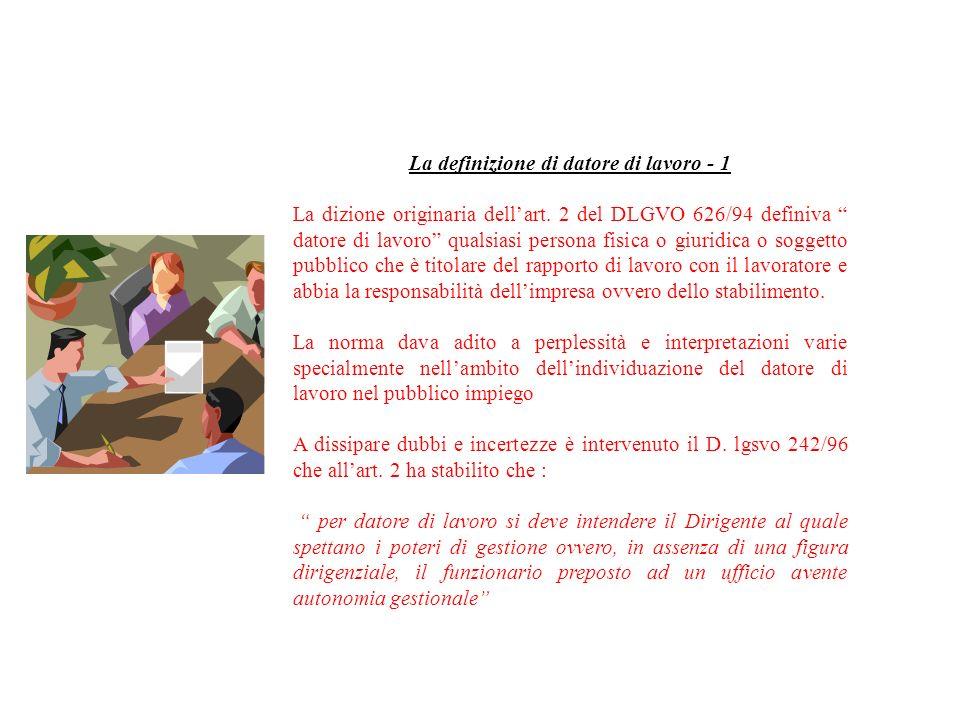La definizione di datore di lavoro - 1 La dizione originaria dellart. 2 del DLGVO 626/94 definiva datore di lavoro qualsiasi persona fisica o giuridic
