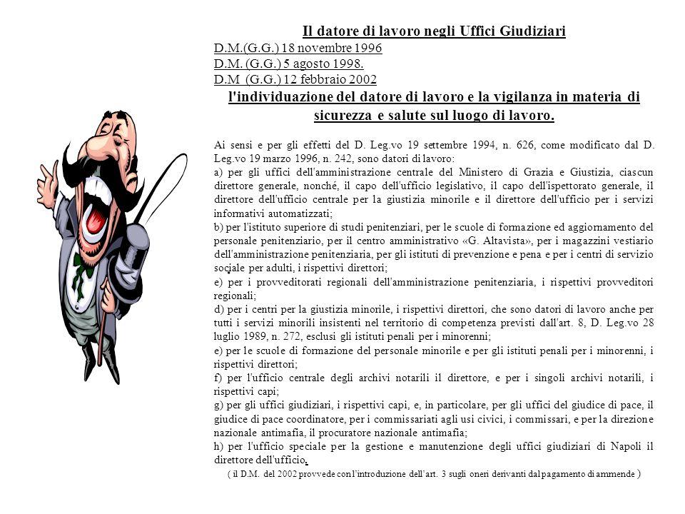 . Il datore di lavoro negli Uffici Giudiziari D.M.(G.G.) 18 novembre 1996 D.M. (G.G.) 5 agosto 1998. D.M (G.G.) 12 febbraio 2002 l'individuazione del