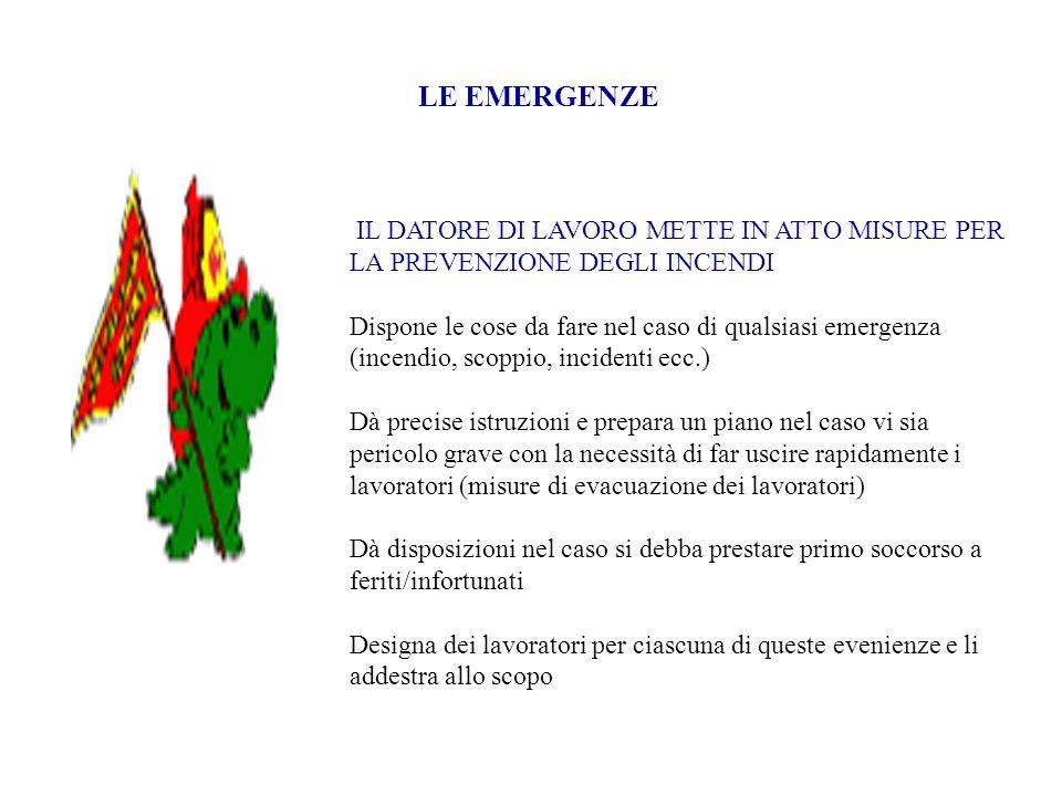 LE EMERGENZE IL DATORE DI LAVORO METTE IN ATTO MISURE PER LA PREVENZIONE DEGLI INCENDI Dispone le cose da fare nel caso di qualsiasi emergenza (incend