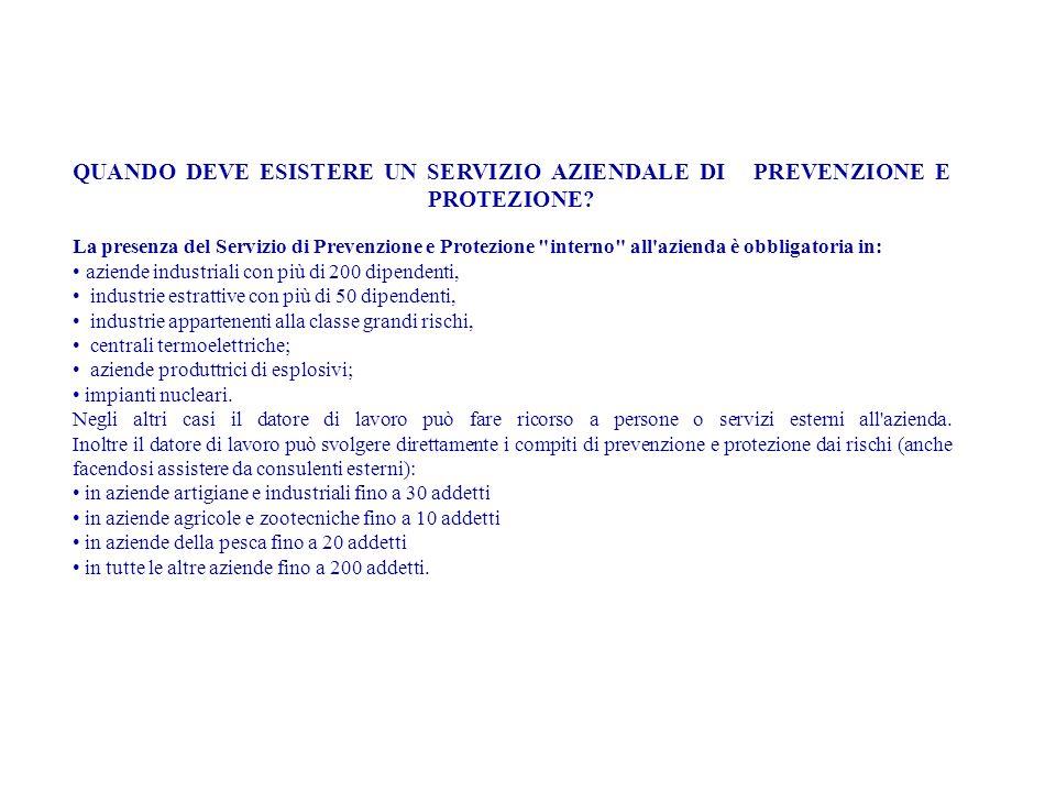 QUANDO DEVE ESISTERE UN SERVIZIO AZIENDALE DI PREVENZIONE E PROTEZIONE? La presenza del Servizio di Prevenzione e Protezione