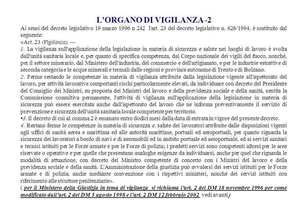L'ORGANO DI VIGILANZA -2 Ai sensi del decreto legislativo 19 marzo 1996 n 242 l'art. 23 del decreto legislativo n. 626/1994, è sostituito dal seguente