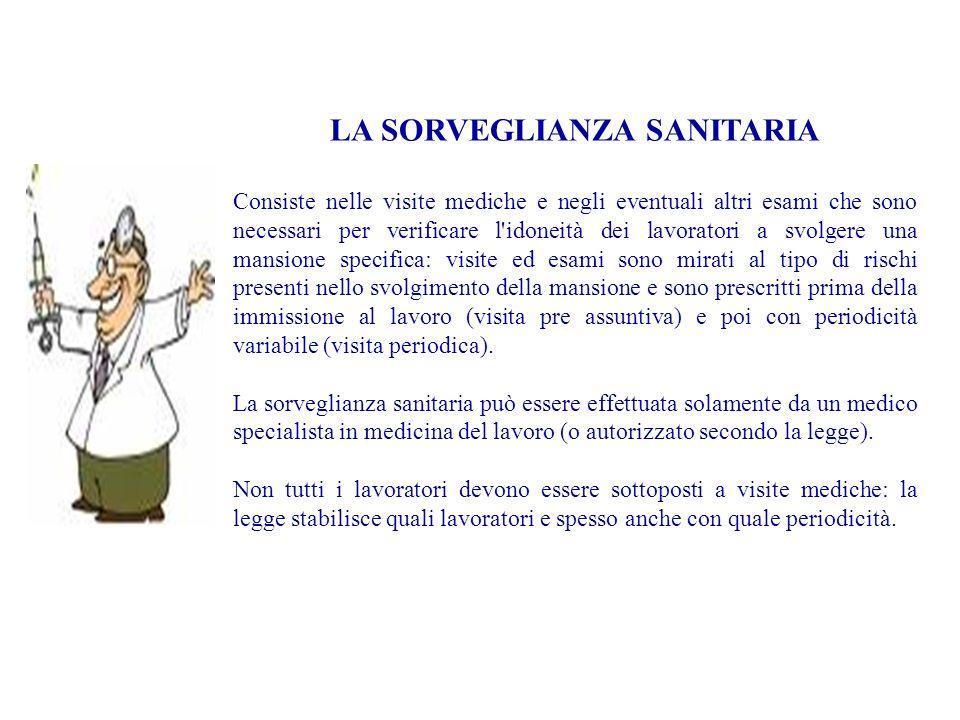 LA SORVEGLIANZA SANITARIA Consiste nelle visite mediche e negli eventuali altri esami che sono necessari per verificare l'idoneità dei lavoratori a sv