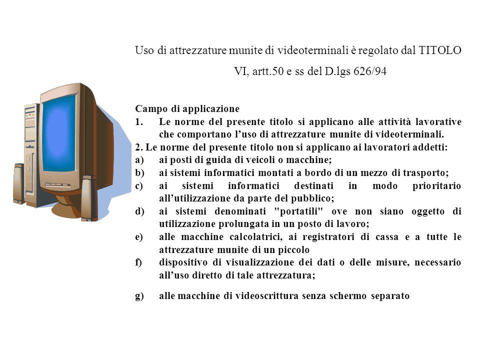 Uso di attrezzature munite di videoterminali è regolato dal TITOLO VI, artt.50 e ss del D.lgs 626/94 Campo di applicazione 1.Le norme del presente tit