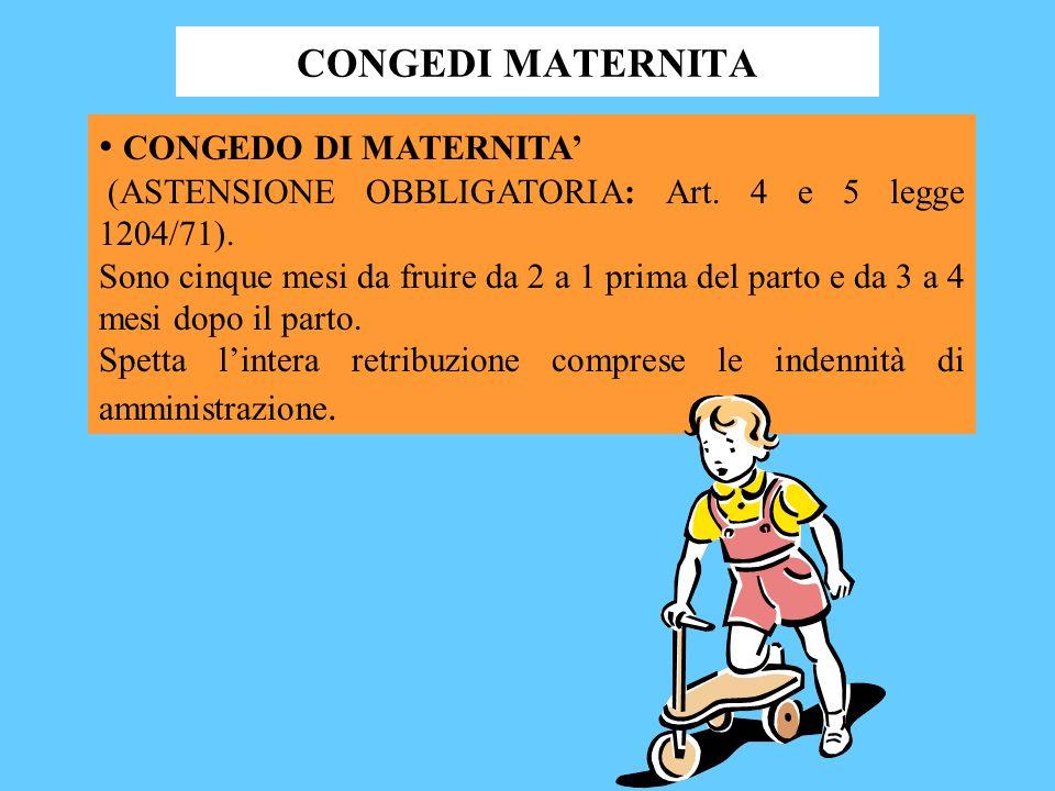 CONGEDI MATERNITA CONGEDO DI MATERNITA (ASTENSIONE OBBLIGATORIA: Art.