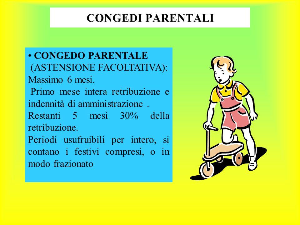 CONGEDI PARENTALI CONGEDO PARENTALE (ASTENSIONE FACOLTATIVA): Massimo 6 mesi.