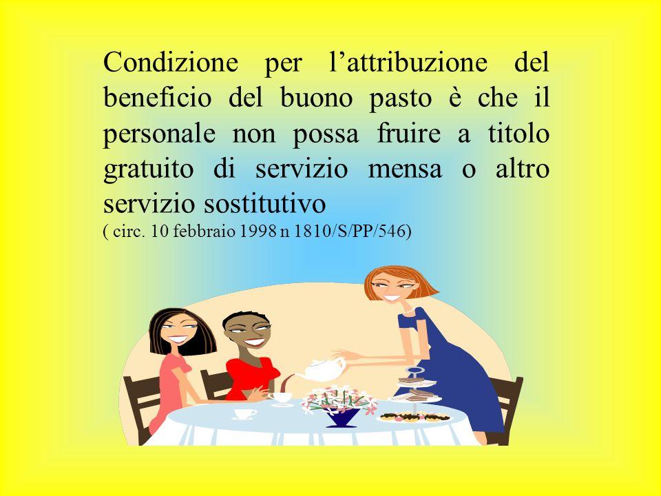 Condizione per lattribuzione del beneficio del buono pasto è che il personale non possa fruire a titolo gratuito di servizio mensa o altro servizio sostitutivo ( circ.