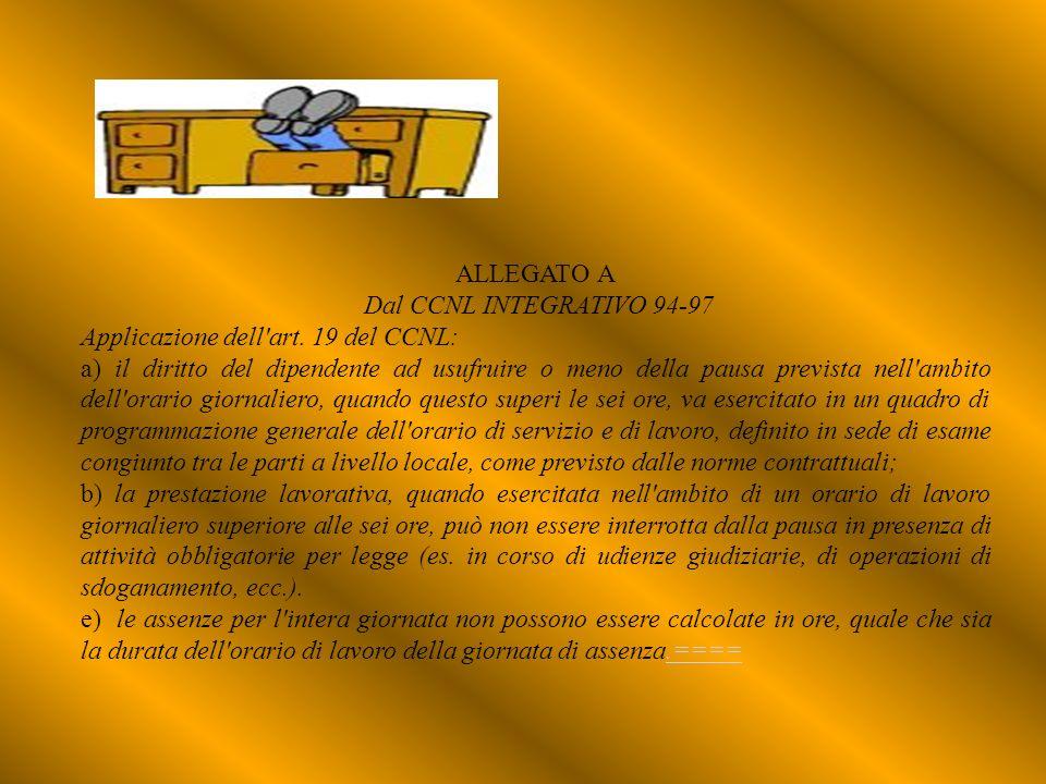 ALLEGATO A Dal CCNL INTEGRATIVO 94-97 Applicazione dell'art. 19 del CCNL: a) il diritto del dipendente ad usufruire o meno della pausa prevista nell'a