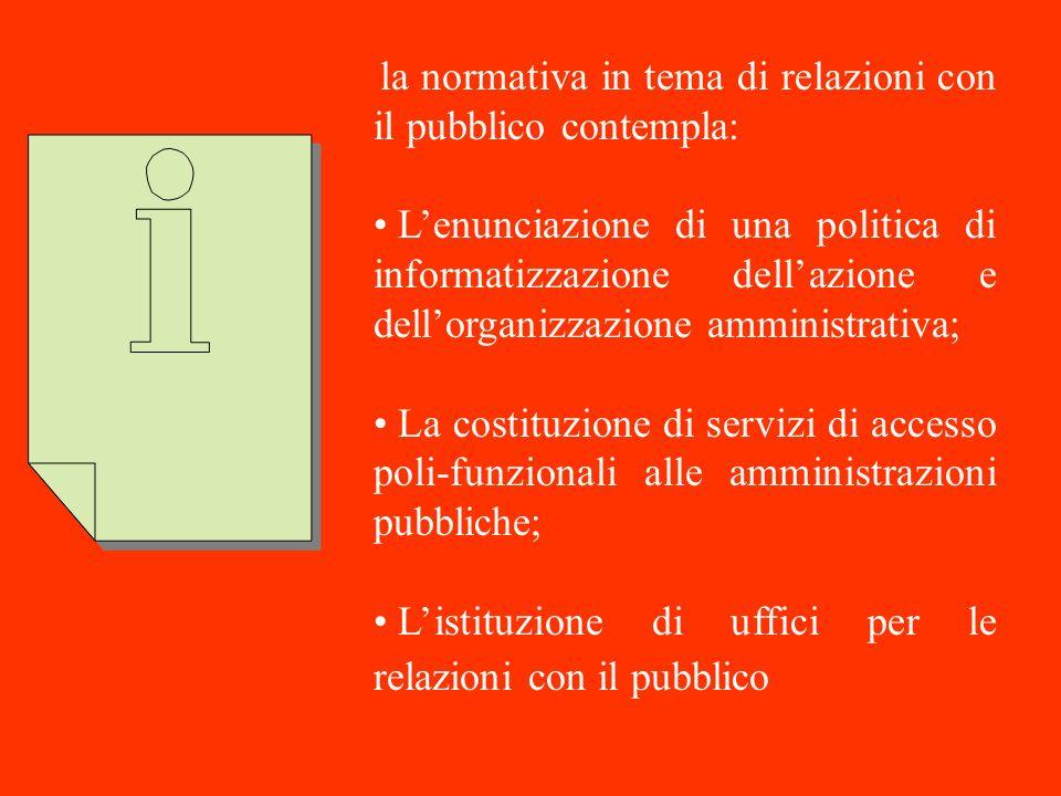 la normativa in tema di relazioni con il pubblico contempla: Lenunciazione di una politica di informatizzazione dellazione e dellorganizzazione ammini
