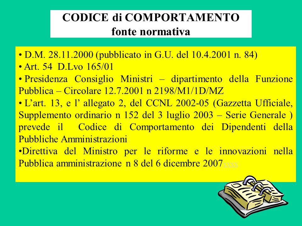 CODICE di COMPORTAMENTO fonte normativa D.M.28.11.2000 (pubblicato in G.U.