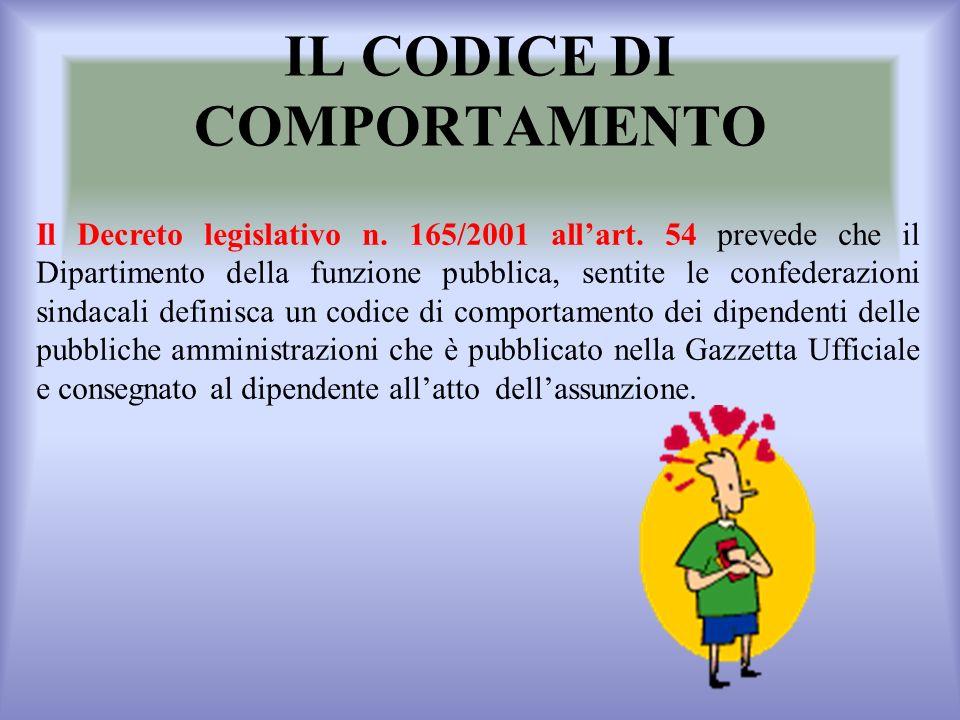 IL CODICE DI COMPORTAMENTO Il Decreto legislativo n.