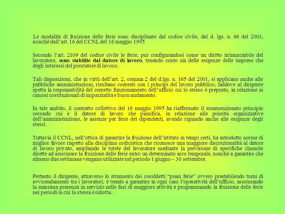 Le modalità di fruizione delle ferie sono disciplinate dal codice civile, dal d. lgs. n. 66 del 2003, nonché dallart. 16 del CCNL del 16 maggio 1995 S