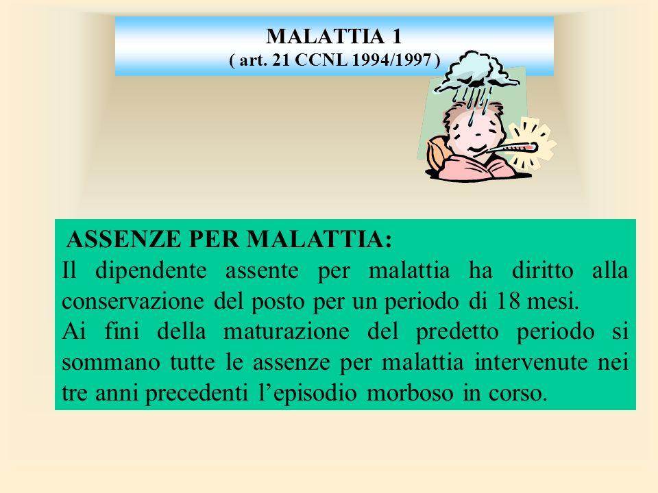 MALATTIA 1 ( art. 21 CCNL 1994/1997 ) ASSENZE PER MALATTIA: Il dipendente assente per malattia ha diritto alla conservazione del posto per un periodo