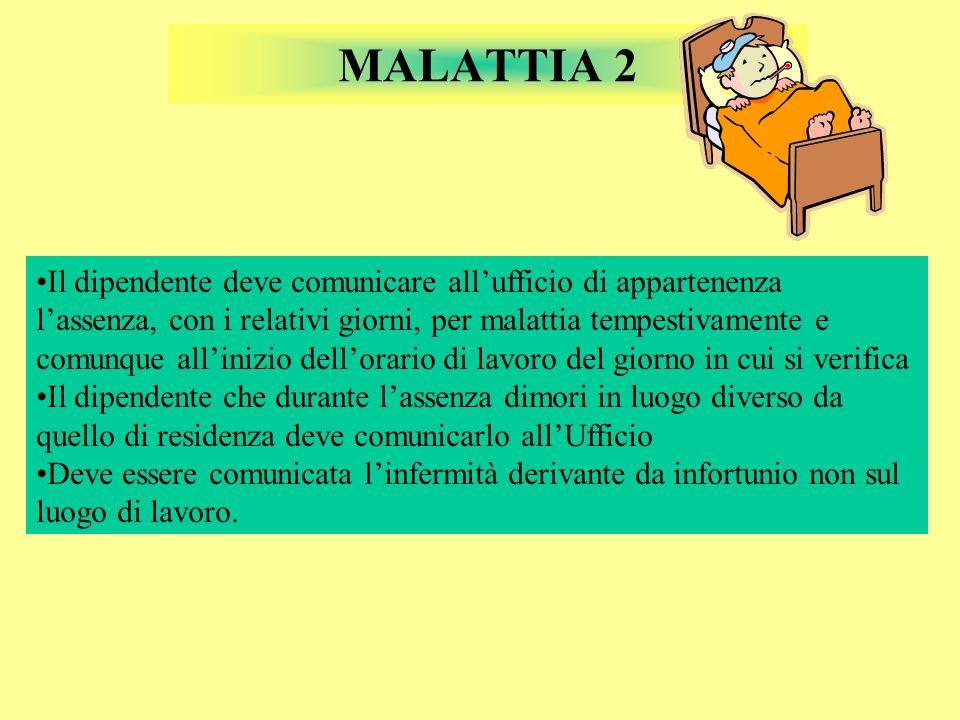 MALATTIA 2 Il dipendente deve comunicare allufficio di appartenenza lassenza, con i relativi giorni, per malattia tempestivamente e comunque allinizio