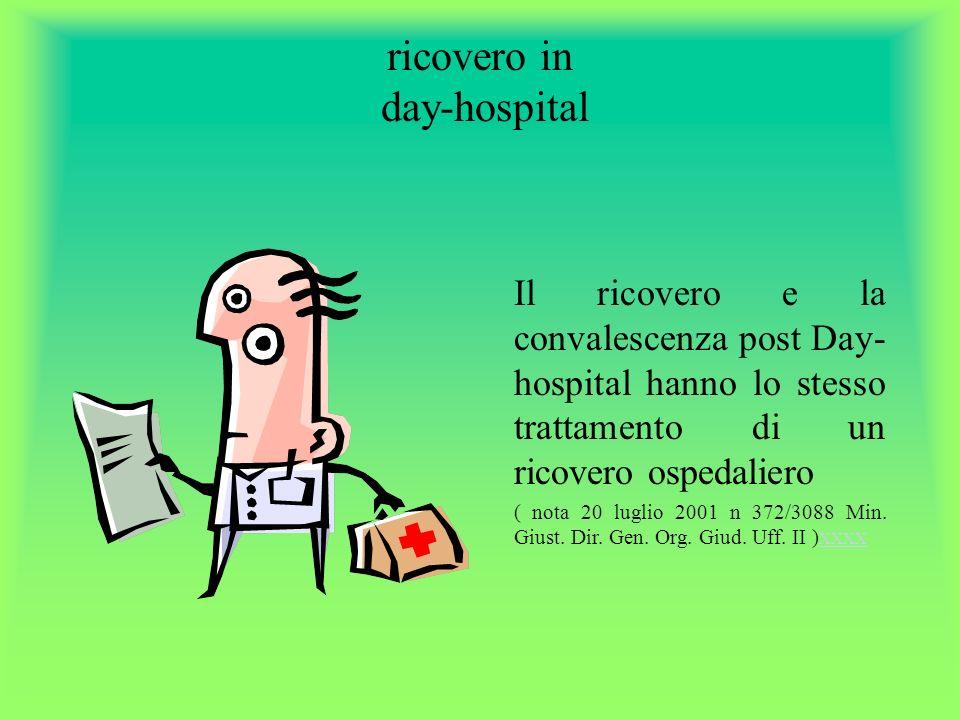 ricovero in day-hospital Il ricovero e la convalescenza post Day- hospital hanno lo stesso trattamento di un ricovero ospedaliero ( nota 20 luglio 2001 n 372/3088 Min.
