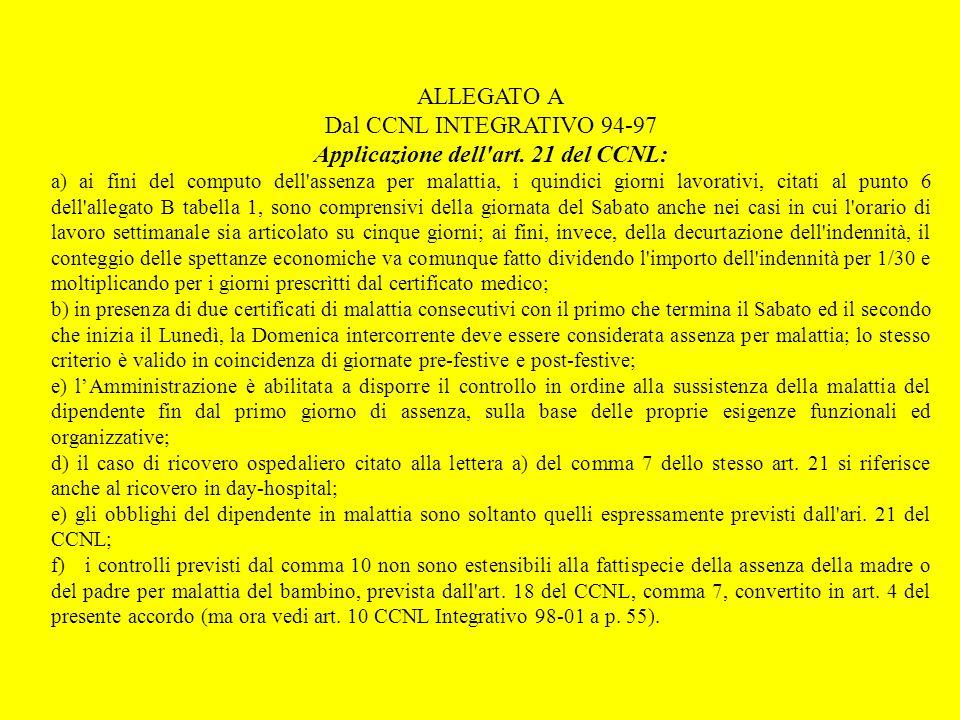 ALLEGATO A Dal CCNL INTEGRATIVO 94-97 Applicazione dell'art. 21 del CCNL: a) ai fini del computo dell'assenza per malattia, i quindici giorni lavorati
