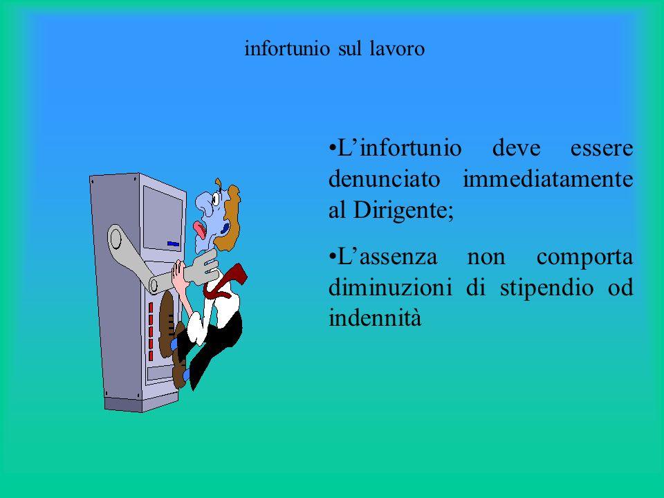 infortunio sul lavoro Linfortunio deve essere denunciato immediatamente al Dirigente; Lassenza non comporta diminuzioni di stipendio od indennità