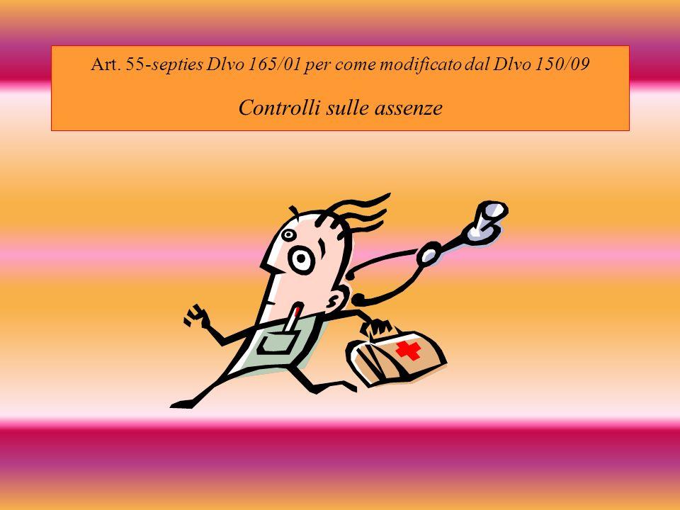Art. 55-septies Dlvo 165/01 per come modificato dal Dlvo 150/09 Controlli sulle assenze