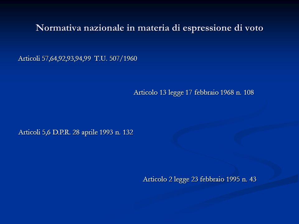 Normativa nazionale in materia di espressione di voto Articoli 57,64,92,93,94,99 T.U.
