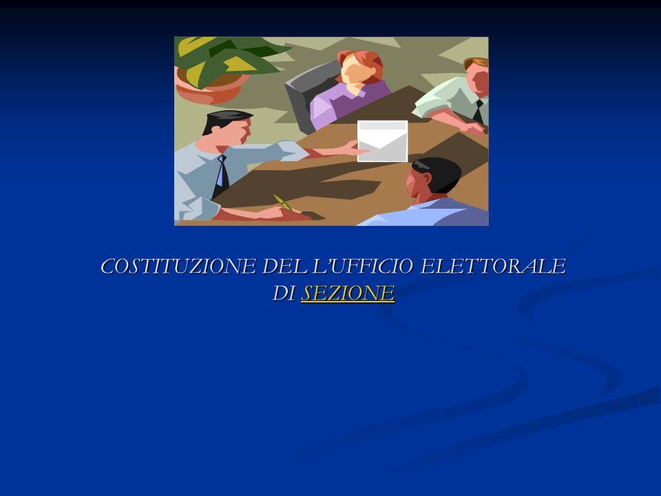 COSTITUZIONE DEL LUFFICIO ELETTORALE DI SEZIONE SEZIONE