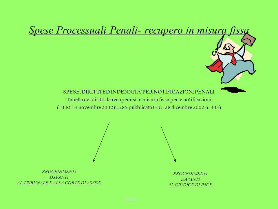 Spese Processuali Penali- recupero in misura fissa SPESE, DIRITTI ED INDENNITA PER NOTIFICAZIONI PENALI Tabella dei diritti da recuperarsi in misura f