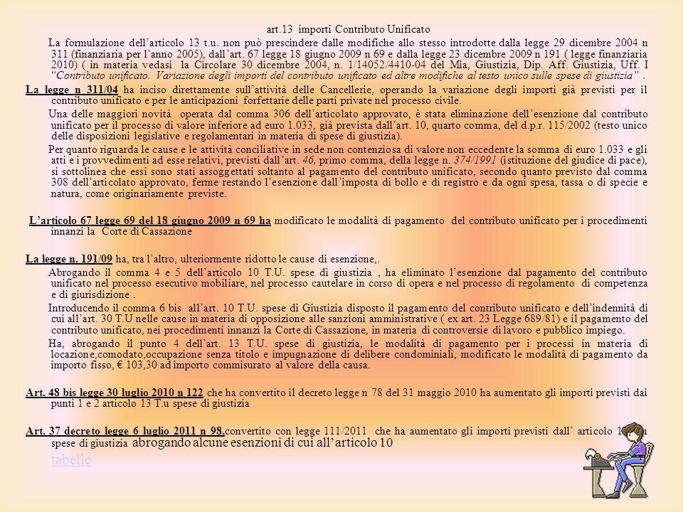 art.13 importi Contributo Unificato La formulazione dellarticolo 13 t.u. non può prescindere dalle modifiche allo stesso introdotte dalla legge 29 dic