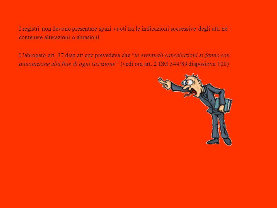 I registri non devono presentare spazi vuoti tra le indicazioni successive degli atti né contenere alterazioni o abrasioni Labrogato art. 37 disp att