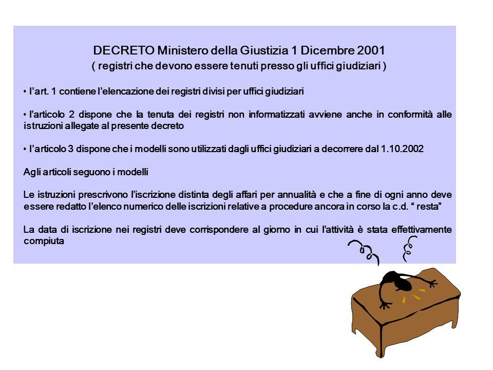 DECRETO Ministero della Giustizia 1 Dicembre 2001 ( registri che devono essere tenuti presso gli uffici giudiziari ) lart. 1 contiene lelencazione dei