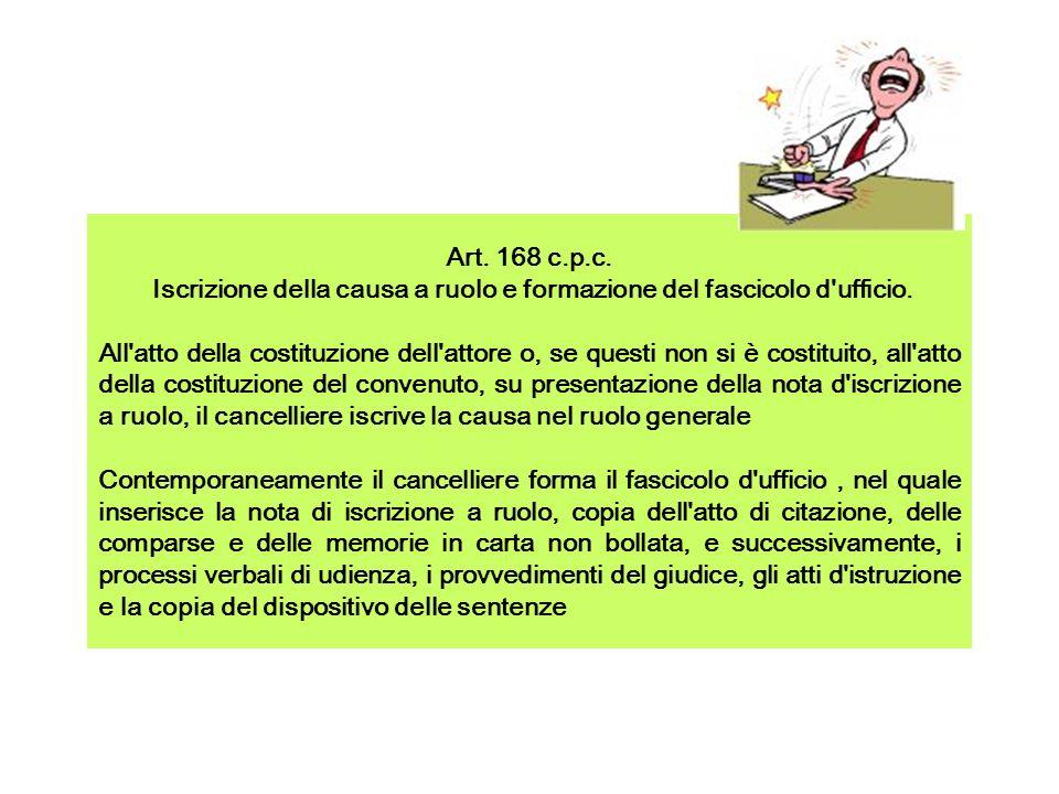 NOTA DI ISCRIZIONE A RUOLO Ai sensi dellarticolo 71 disp.