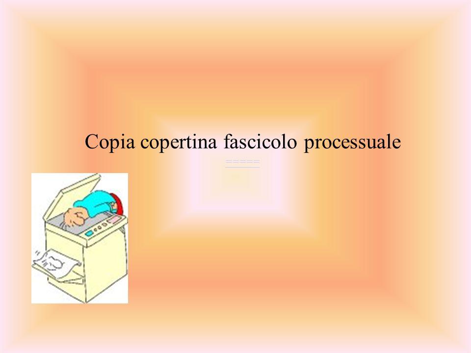 Copia copertina fascicolo processuale =====