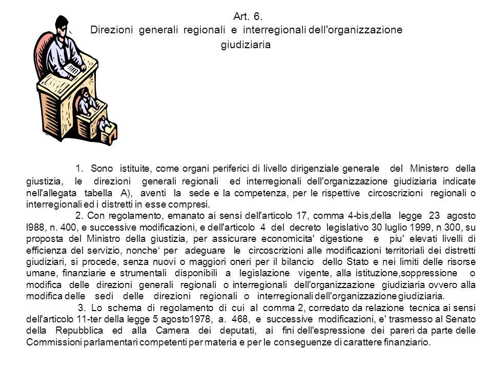 Art. 6. Direzioni generali regionali e interregionali dell'organizzazione giudiziaria 1. Sono istituite, come organi periferici di livello dirigenzial