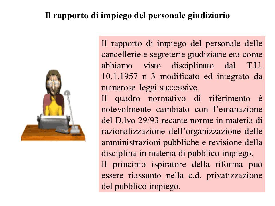 Il rapporto di impiego del personale giudiziario Il rapporto di impiego del personale delle cancellerie e segreterie giudiziarie era come abbiamo vist