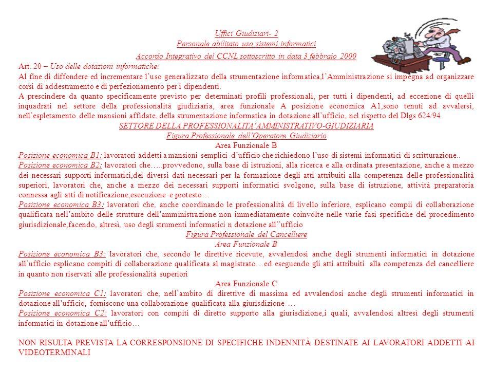 Uffici Giudiziari- 2 Personale abilitato uso sistemi informatici Accordo Integrativo del CCNL sottoscritto in data 3 febbraio 2000 Art. 20 – Uso delle