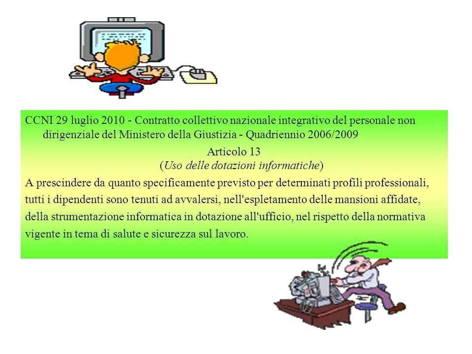 CCNI 29 luglio 2010 - Contratto collettivo nazionale integrativo del personale non dirigenziale del Ministero della Giustizia - Quadriennio 2006/2009