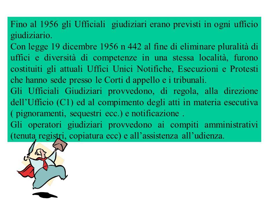 Fino al 1956 gli Ufficiali giudiziari erano previsti in ogni ufficio giudiziario. Con legge 19 dicembre 1956 n 442 al fine di eliminare pluralità di u