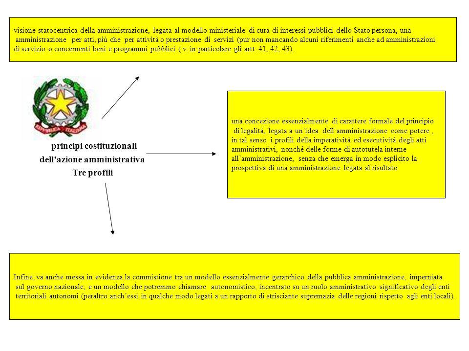 principi costituzionali dellazione amministrativa Tre profili visione statocentrica della amministrazione, legata al modello ministeriale di cura di i