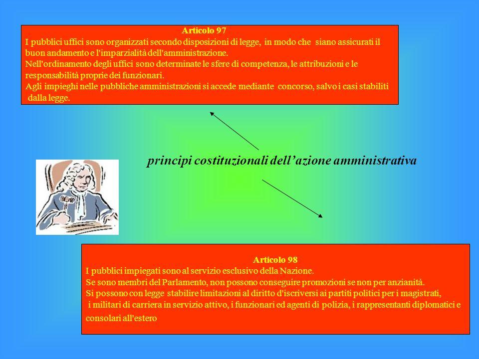 principi costituzionali dellazione amministrativa Articolo 97 I pubblici uffici sono organizzati secondo disposizioni di legge, in modo che siano assi