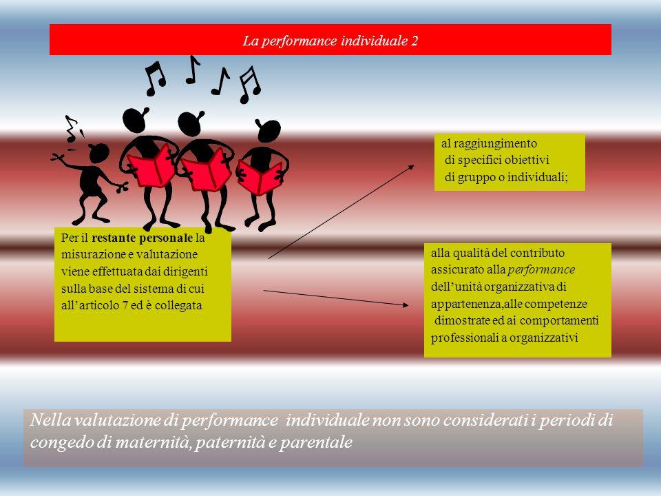 La performance individuale 2 Nella valutazione di performance individuale non sono considerati i periodi di congedo di maternità, paternità e parental