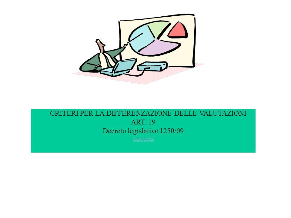 CRITERI PER LA DIFFERENZAZIONE DELLE VALUTAZIONI ART. 19 Decreto legislativo 1250/09 xxxxxxx