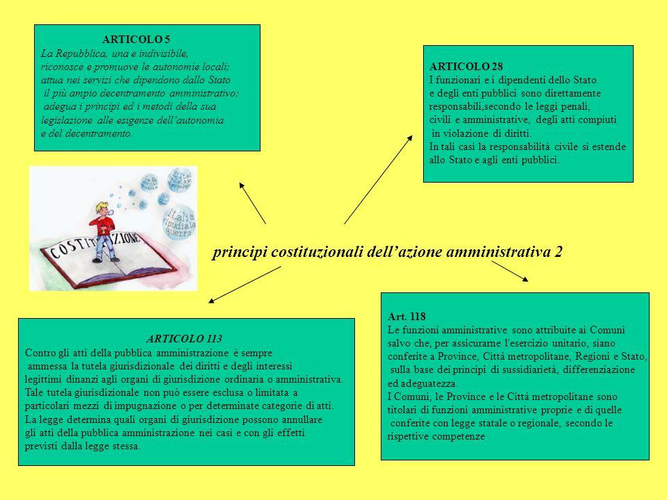 principi costituzionali dellazione amministrativa 2 ARTICOLO 5 La Repubblica, una e indivisibile, riconosce e promuove le autonomie locali; attua nei