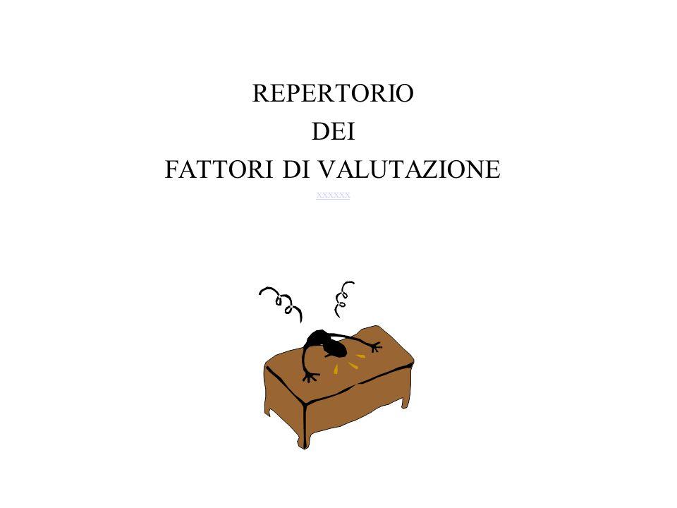 REPERTORIO DEI FATTORI DI VALUTAZIONE xxxxxx